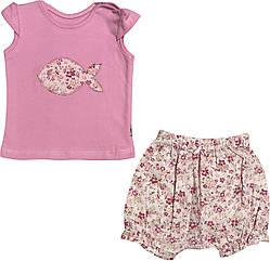 Літній костюм на дівчинку ріст 62 2-3 міс для новонароджених комплект футболка і шорти дитячий літо рожевий