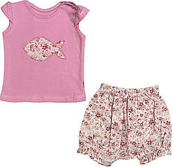 Летний костюм на девочку рост 74 6-9 мес для новорожденных комплект футболка и шорты детский лето розовый