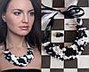 """Шахматы"" колье+серьги, авторский комплект украшений"