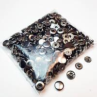 Кнопки для одягу Альфа 10.5 мм. Блек нікель (VT-2).Кнопки для гаманців