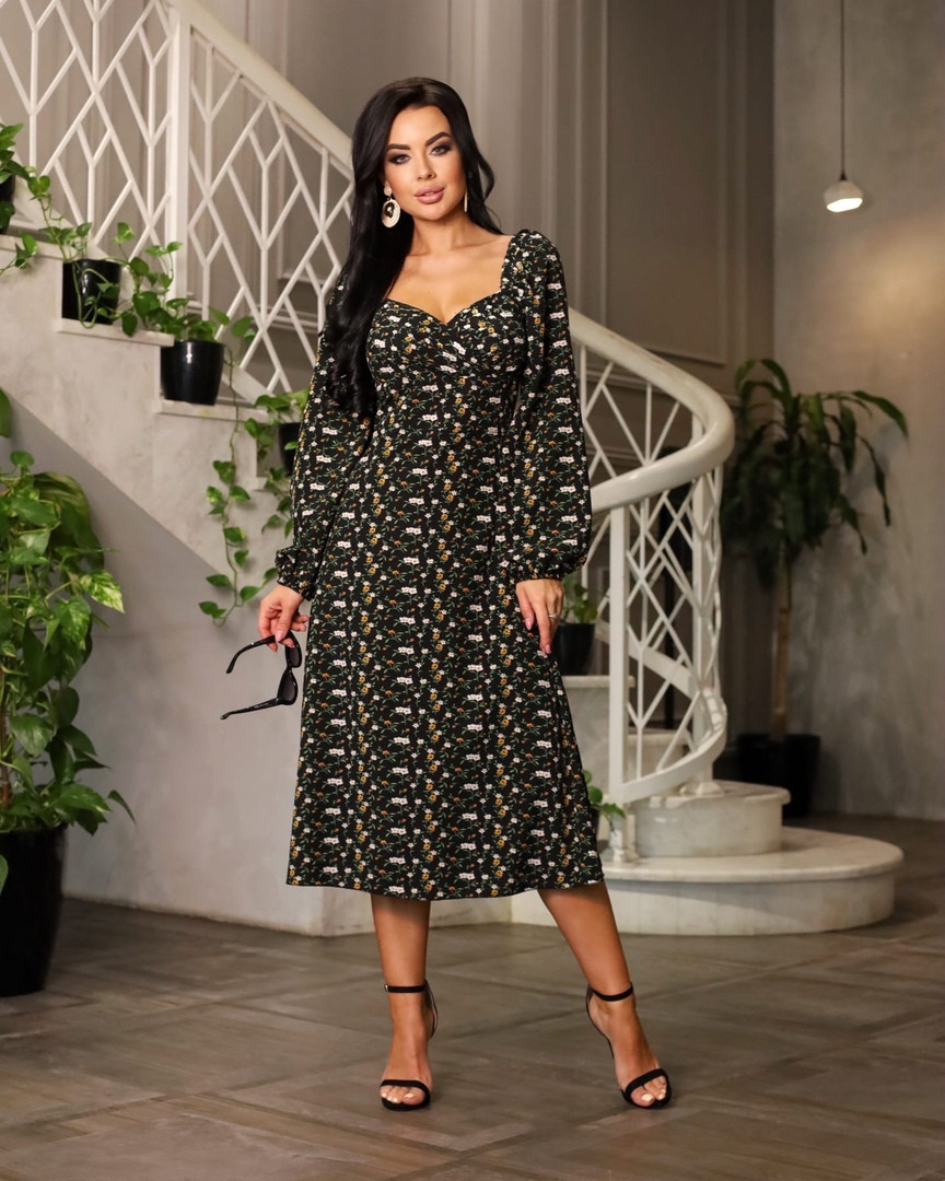 Женское платье, супер - софт, р-р 42-44; 46-48 (чёрный)