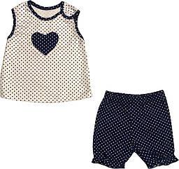 Літній костюм на дівчинку ріст 62 2-3 міс для новонароджених комплект футболка і шорти бавовна літо синій