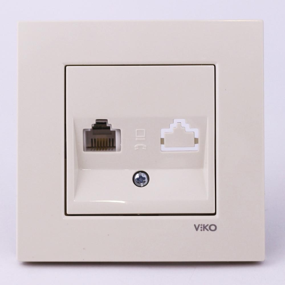 Розетка телефонна VI-KO Karre прихованої установки (кремова)