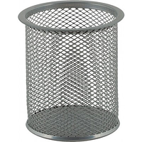 Подставка для ручек круглая 80х80х97 мм металлическая Buromax BM.6202-24 серебро