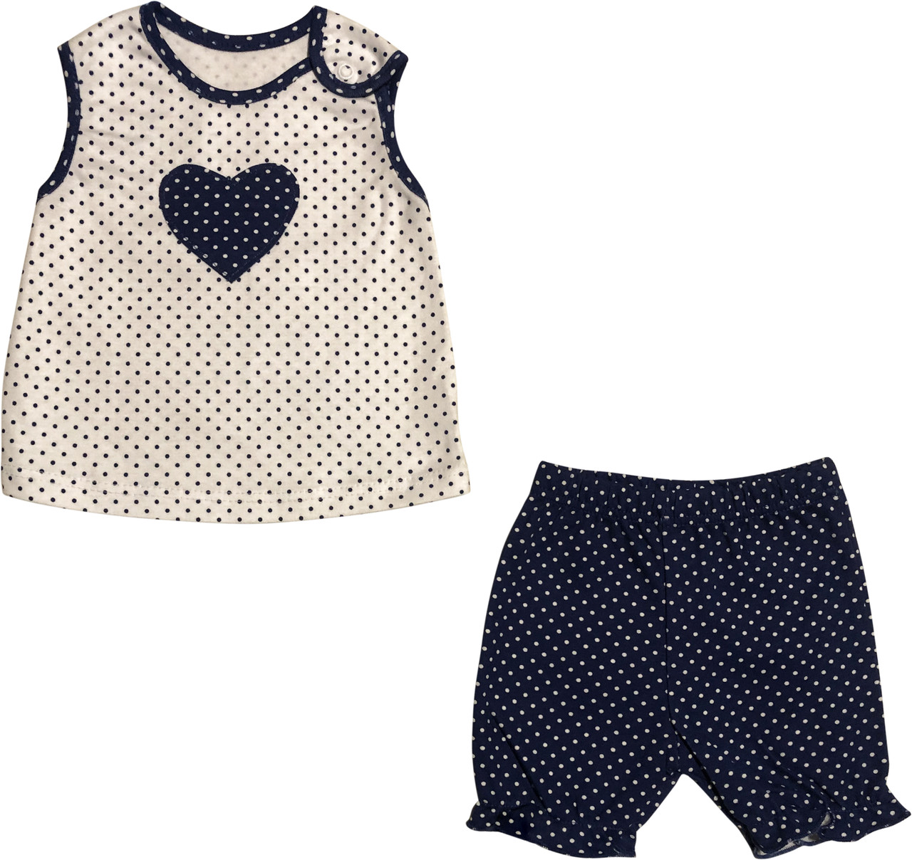 Літній костюм на дівчинку ріст 68 3-6 міс для новонароджених комплект футболка і шорти дитячий бавовна літо синій