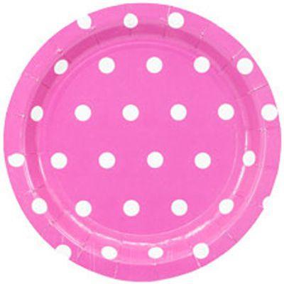 Тарелка Горошек розовая 17см (6шт)