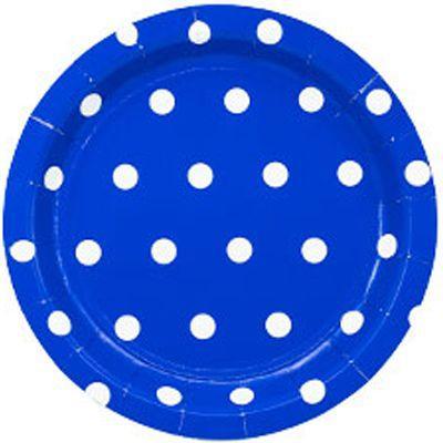 Тарелка Горошек синие 17см (6шт)