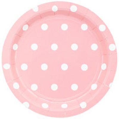 Тарелка Горошек нежно-розовые 17см (6шт)