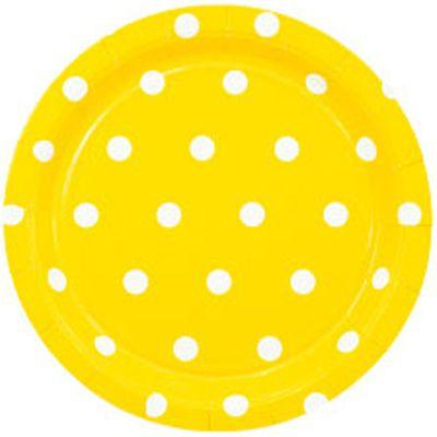 Тарелка Горошек желтая 17см 6шт