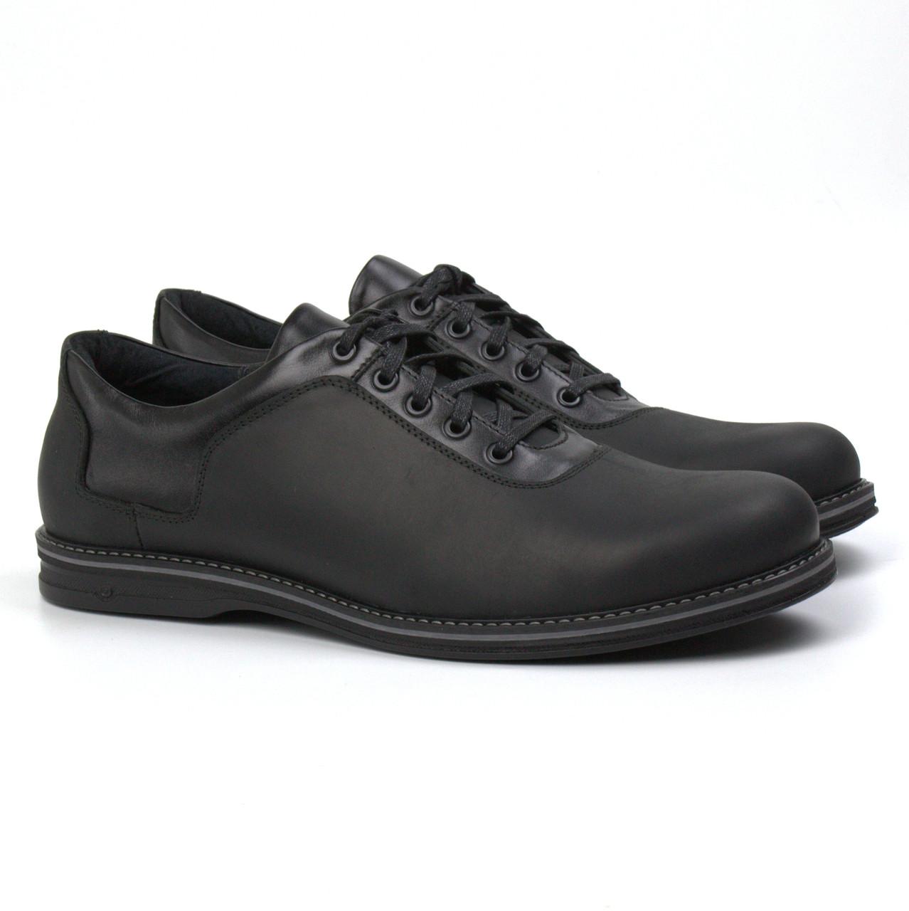 Мужская обувь больших размеров полу ботинки демисезонные кожаные черные Rosso Avangard BS Prince Black Crazy