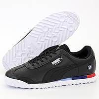 Мужские кроссовки в стиле Puma BMW Roma, кожа, черный, Вьетнам