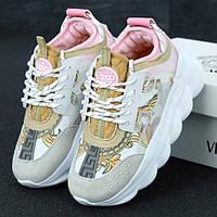Женские кроссовки в стиле Versace Chain Reaction, розовый, серый, белый, желтый, Италия