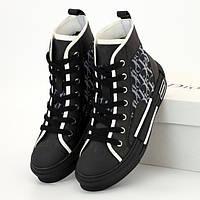 Женские кроссовки в стиле Dior B23 High-Top Sneakers in Dior Oblique, черный, Вьетнам