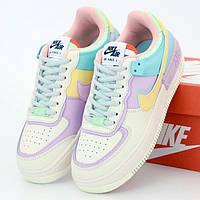 Женские кроссовки в стиле Nike Air Force 1 Shadow, кожа, белый, фиолетовый, желтый, бирюзовый, Вьетнам