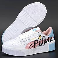 Женские кроссовки в стиле Puma Cali, кожа, белый, розовый, голубой, Вьетнам