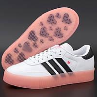 Женские кроссовки в стиле Adidas Sambarose, кожа, белый, розовый, черный, Вьетнам