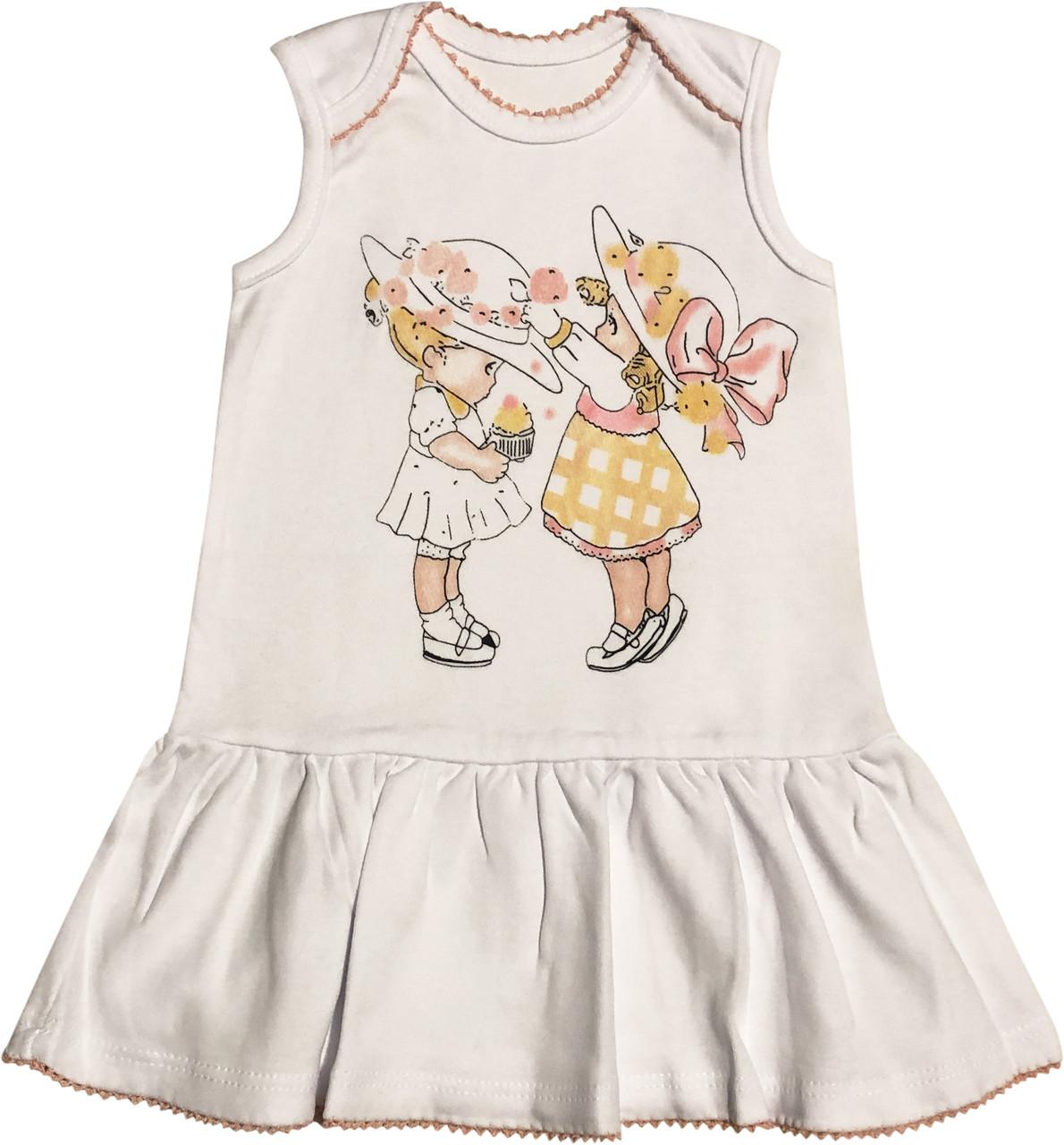 Летнее платье на девочку рост 80 9-12 мес для новорожденных без рукавов детское трикотаж интерлок лето белое