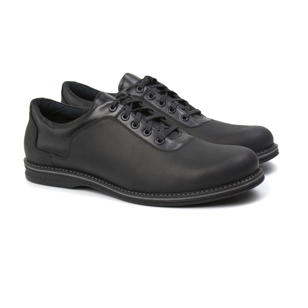Полуботинки мужские кожаные черные обувь демисезонная на флисе Rosso Avangard Prince Black Crazy