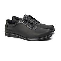 Полуботинки мужские кожаные черные обувь демисезонная на флисе Rosso Avangard Prince Black Crazy, фото 1