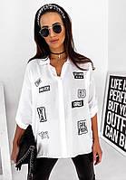 Модная женская летняя рубашка с регулируемым рукавом белая с принтом 46-48, 54-56