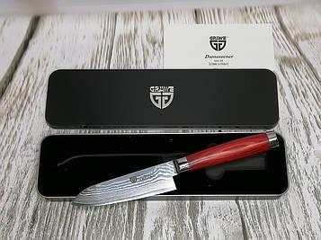 Нож из дамасской стали Gräwe Santoku, лезвие 12,5 см, в подарочной коробке