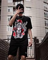 Мужской комплект черный, летний костюм футболка с принтом и шорты Itachi