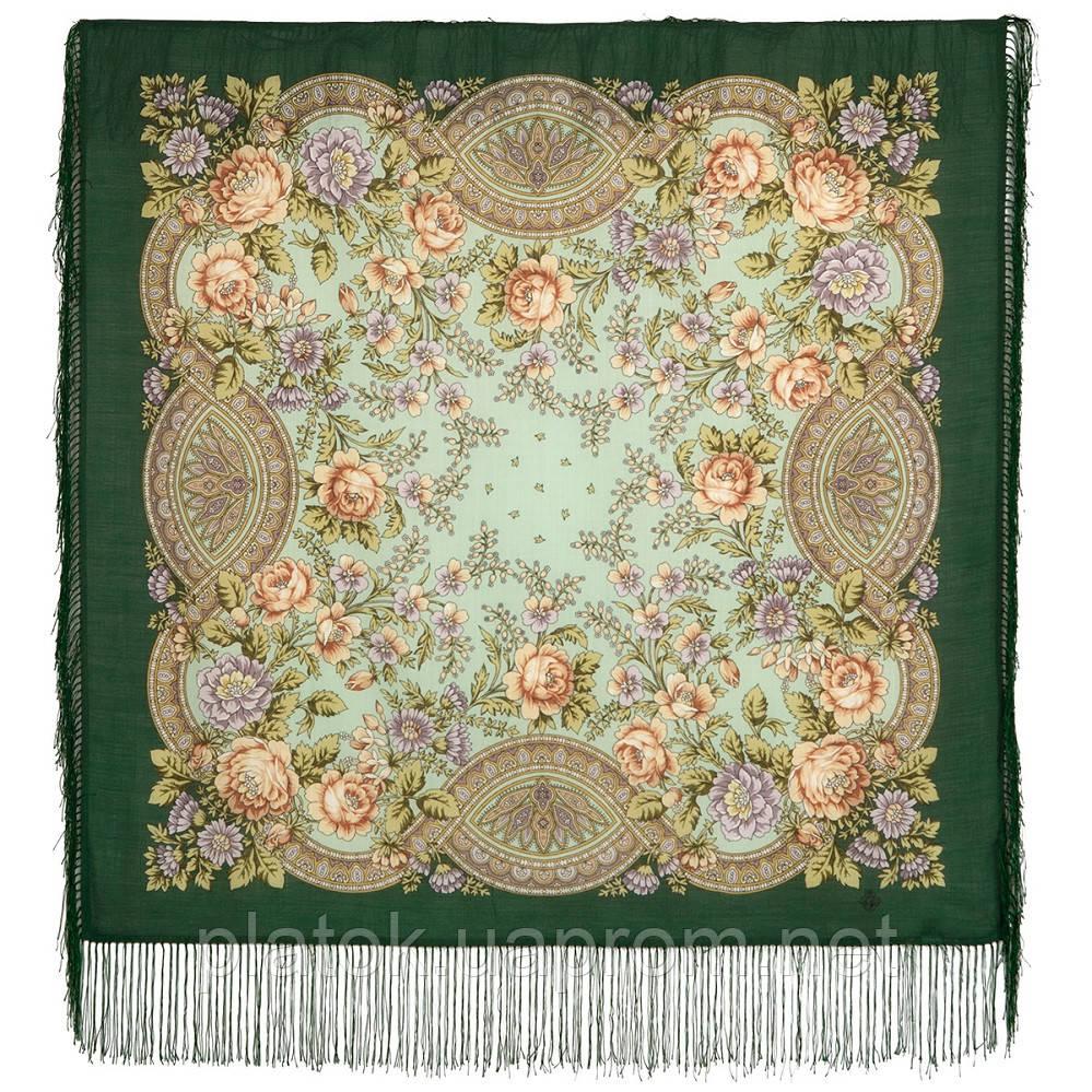 Кумушка 1453-9а, павлопосадский платок шерстяной  с шелковой бахромой