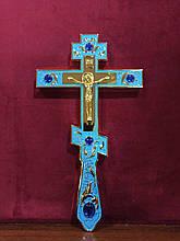 Требного хрест синій з камінням для священнослужителя