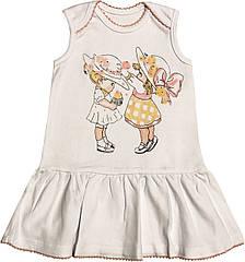 Літнє плаття на дівчинку ріст 104 3-4 роки для дітей без рукавів дитяче трикотажне інтерлок літо біле