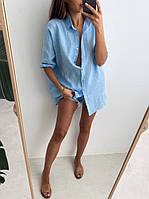 Женская рубашка из льна Овер сайз , Свободного кроя..Новое поступление весна лето