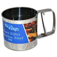 Сито-кружка 250 мл с тремя уровнями просеивания, чашка просеиватель муки Сито для борошна, нержавіюча сталь