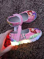 Туфлі для дівчинки рожеві з принцесою, розміри 21,22,23,24 (світяться при ходьбі)