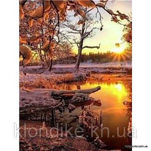 """Картина по номерам """"Зимний закат"""" 40×50 см Акриловые Краски, Картонная упаковка"""