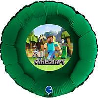 """Повітряна куля круглий гелієвий, з наклейкою """"Майнкрафт"""" 12"""" (30 см) (поштучно) на Мінському масиві"""