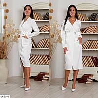Ділове облягаючу сукню за коліно на запах з довгим рукавом р-ри 42-46 арт.3007