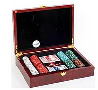 Покерный набор в деревянном кейсе-200