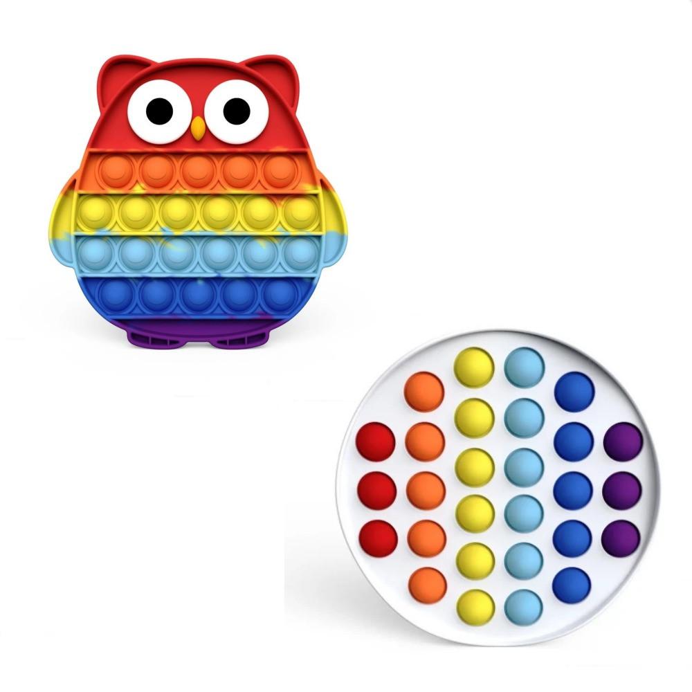 """Комплект Сенсорная игрушка антистресс POP IT Игрушка """"нажми на пузырь"""" BOUBLE PUSH сова и круг"""