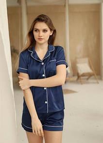 Женская пижама шелковая шорты и рубашка піжама жіноча комплект сорочка шорти