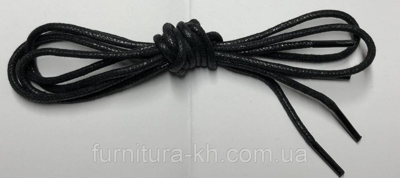 Шнурки круглые с пропиткой 120 см (цвет черный) в уп 72 пары.