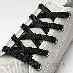Шнурки плоские 150 см (цвет черный) в уп 72 пары.