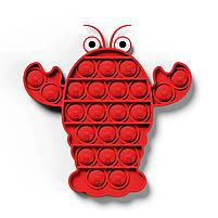 """Комплект Сенсорна іграшка антистрес POP IT Іграшка """"натисни на міхур"""" BOUBLE PUSH рак, сова та полуниця, фото 4"""