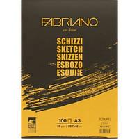 Альбом для эскизов Fabriano А3 100л 100г/м2 Schizzi Sketch склейка 8001348171539