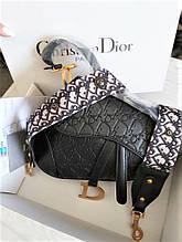 Жіноча сумка з тисненням Dior Saddle діор сідло Black