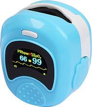 Дитячий акумуляторний пульсометр оксиметром на палець (пульсоксиметр) CONTEC CMS50QB LCD Blue