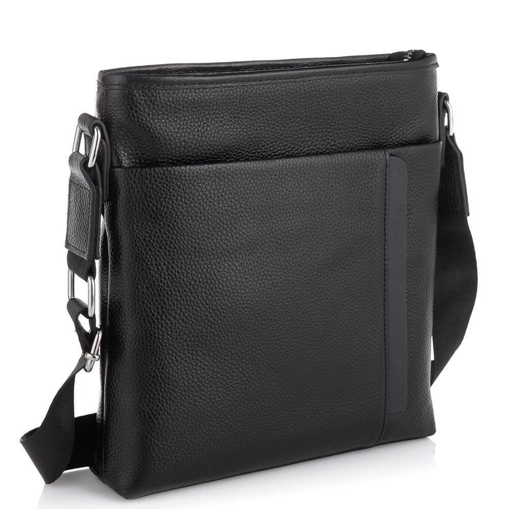 Мужская кожаная сумка через плечо черная Tiding Bag A25F-9913-3A