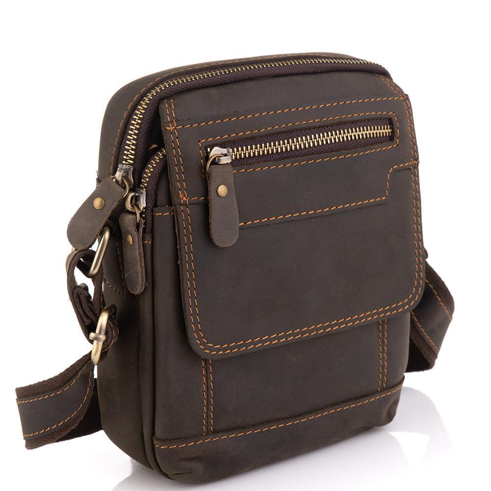 Мужская кожаная сумка коричневая Tiding Bag t2101