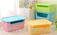 Пластиковий універсальний кошик для зберігання з кришкою. Блакитний