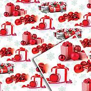 Новогодняя подарочная упаковочная бумага 70*100см 10л/уп №523
