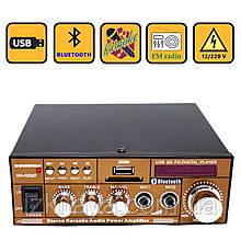 Усилитель звука BM AUDIO Bluetooth BM-606BT USB SD FM радио MP3 (домашний стерео-усилитель звука с блютуз)