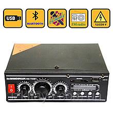 Підсилювач звуку BM AUDIO Bluetooth BM-700BT USB, SD FM радіо MP3 (домашній стерео підсилювач звуку з блютуз)